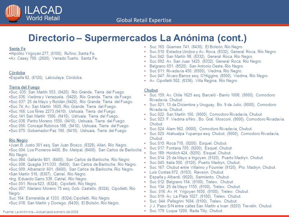 Directorio – Supermercados La Anónima (cont.) Fuente: La Anónima – Actualizado a enero del 2008 Santa Fe Hipólito Yrigoyen 277, (6100), Rufino, Santa