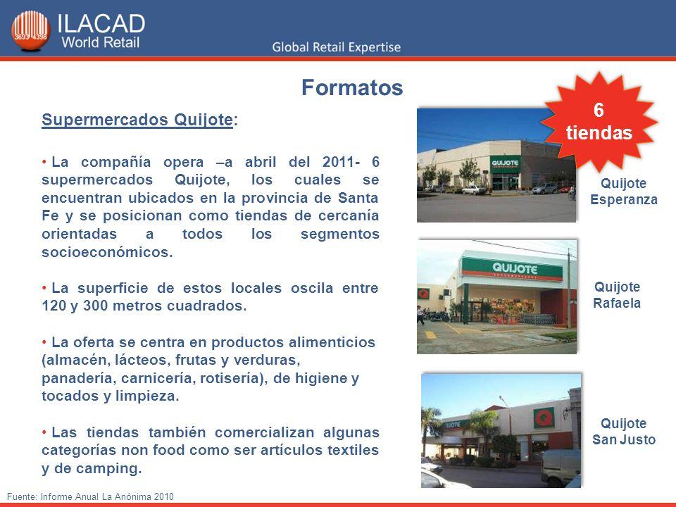 Supermercados Quijote: La compañía opera –a abril del 2011- 6 supermercados Quijote, los cuales se encuentran ubicados en la provincia de Santa Fe y s