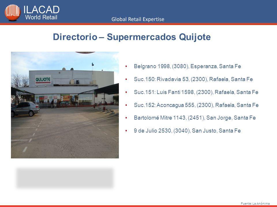 Directorio – Supermercados Quijote Fuente: La Anónima Belgrano 1998, (3080), Esperanza, Santa Fe Suc.150: Rivadavia 53, (2300), Rafaela, Santa Fe Suc.
