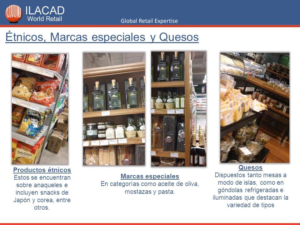 Marcas especiales En categorías como aceite de oliva, mostazas y pasta. Quesos Dispuestos tanto mesas a modo de islas, como en góndolas refrigeradas e