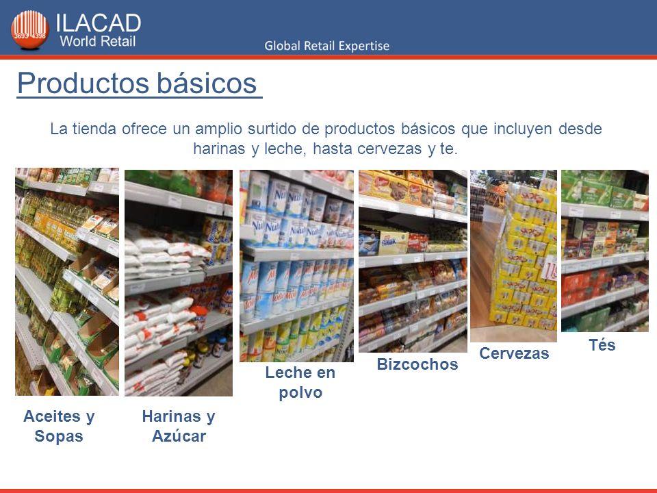 La tienda ofrece un amplio surtido de productos básicos que incluyen desde harinas y leche, hasta cervezas y te. Productos básicos Aceites y Sopas Har