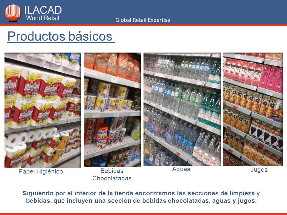 Jugos Aguas Bebidas Chocolatadas Siguiendo por el interior de la tienda encontramos las secciones de limpieza y bebidas, que incluyen una sección de b