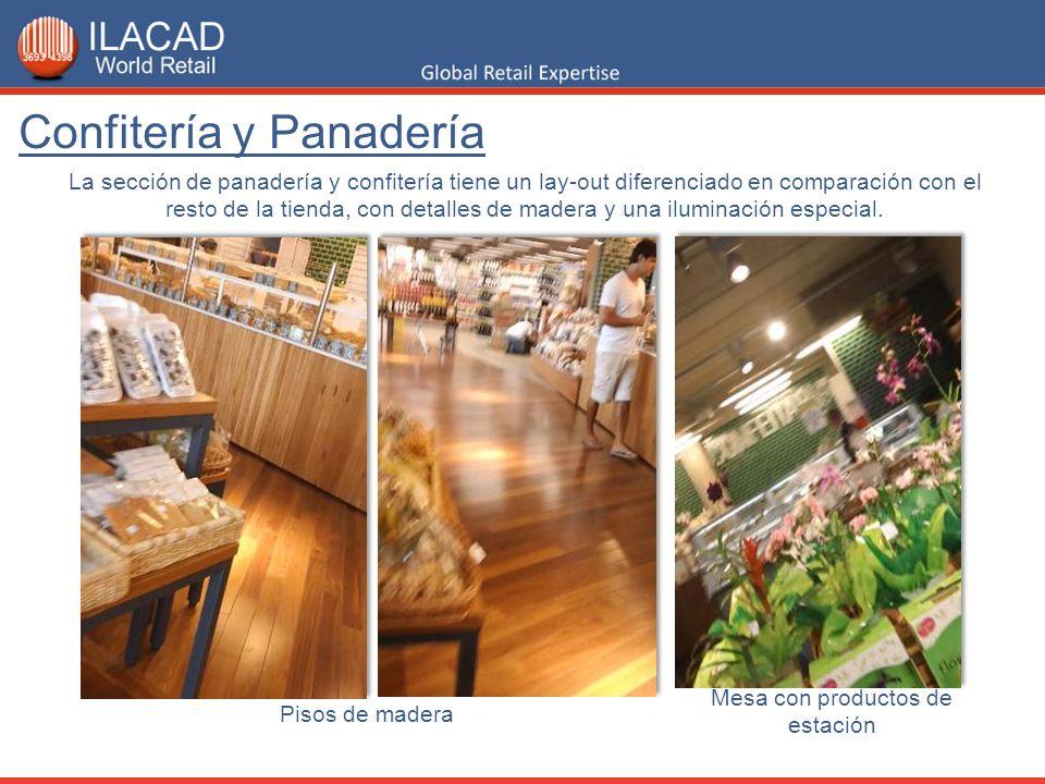 La sección de panadería y confitería tiene un lay-out diferenciado en comparación con el resto de la tienda, con detalles de madera y una iluminación