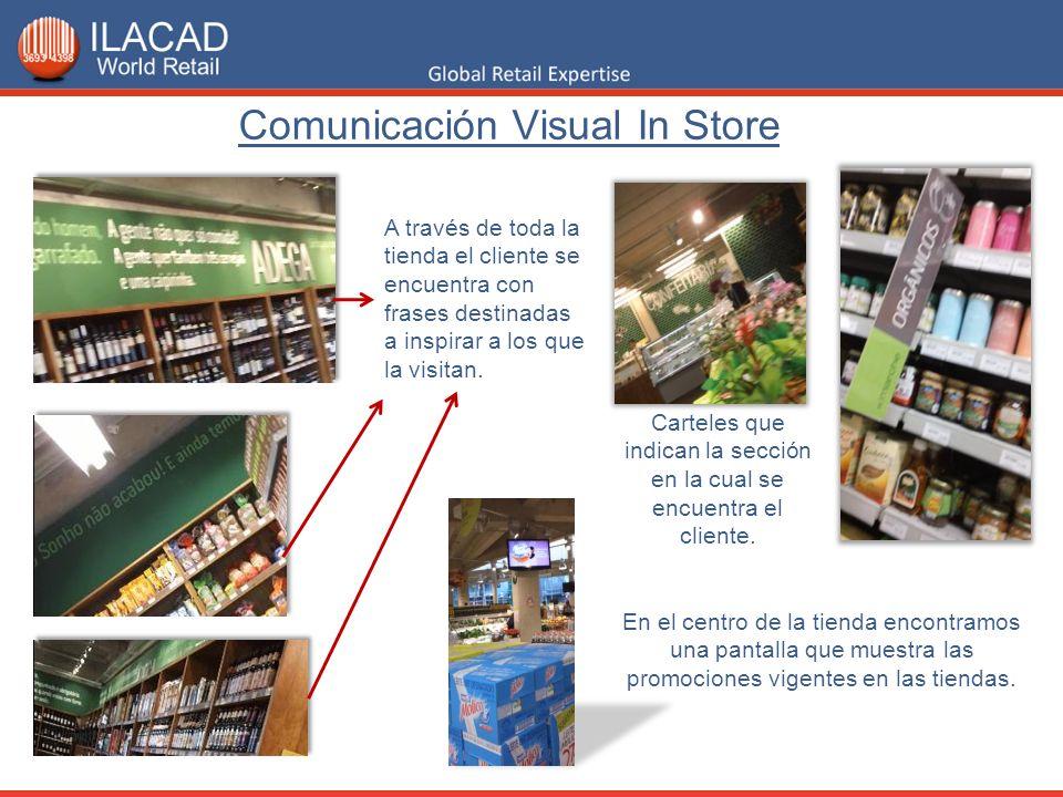 Comunicación Visual In Store Carteles que indican la sección en la cual se encuentra el cliente. En el centro de la tienda encontramos una pantalla qu
