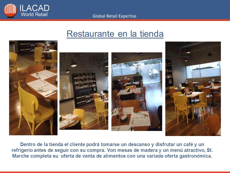 Restaurante en la tienda Dentro de la tienda el cliente podrá tomarse un descanso y disfrutar un café y un refrigerio antes de seguir con su compra. V