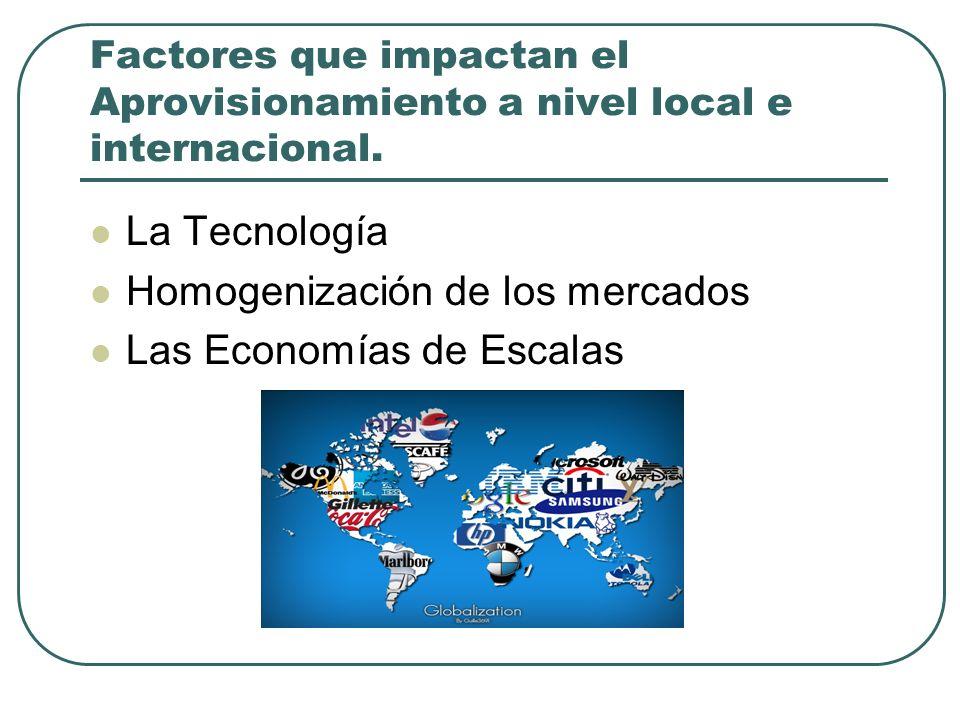 Factores que impactan el Aprovisionamiento a nivel local e internacional. La Tecnología Homogenización de los mercados Las Economías de Escalas