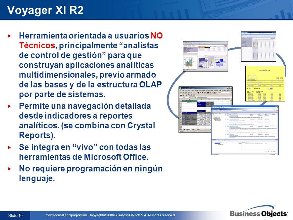 Slide 10 Confidential and proprietary. Copyright © 2006 Business Objects S.A. All rights reserved. Herramienta orientada a usuarios NO Técnicos, princ
