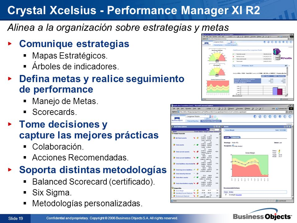 Slide 19 Confidential and proprietary. Copyright © 2006 Business Objects S.A. All rights reserved. Crystal Xcelsius - Performance Manager XI R2 Comuni
