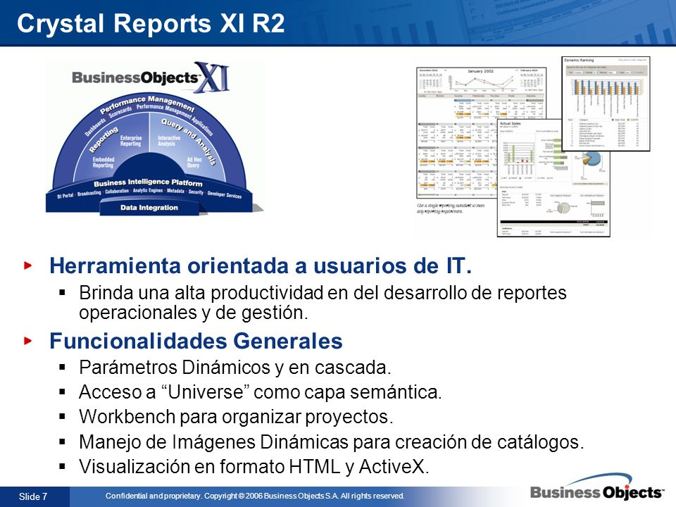 Slide 7 Confidential and proprietary. Copyright © 2006 Business Objects S.A. All rights reserved. Crystal Reports XI R2 Herramienta orientada a usuari