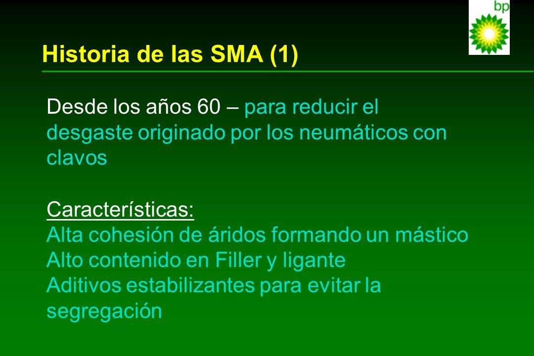 Historia de las SMA (1) Desde los años 60 – para reducir el desgaste originado por los neumáticos con clavos Características: Alta cohesión de áridos