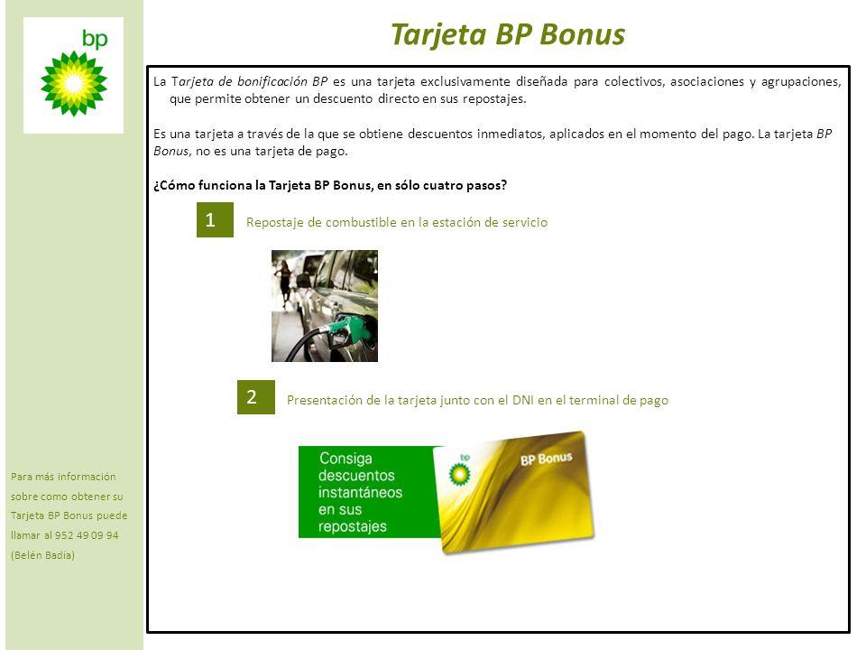 2 Tarjeta BP Bonus 3 El empleado pasa la Tarjeta BP Bonus por el terminal 4 Obtiene descuento inmediato por litro repostado (usted paga el importe tras el descuento) ¿Cómo funciona la Tarjeta BP Bonus?