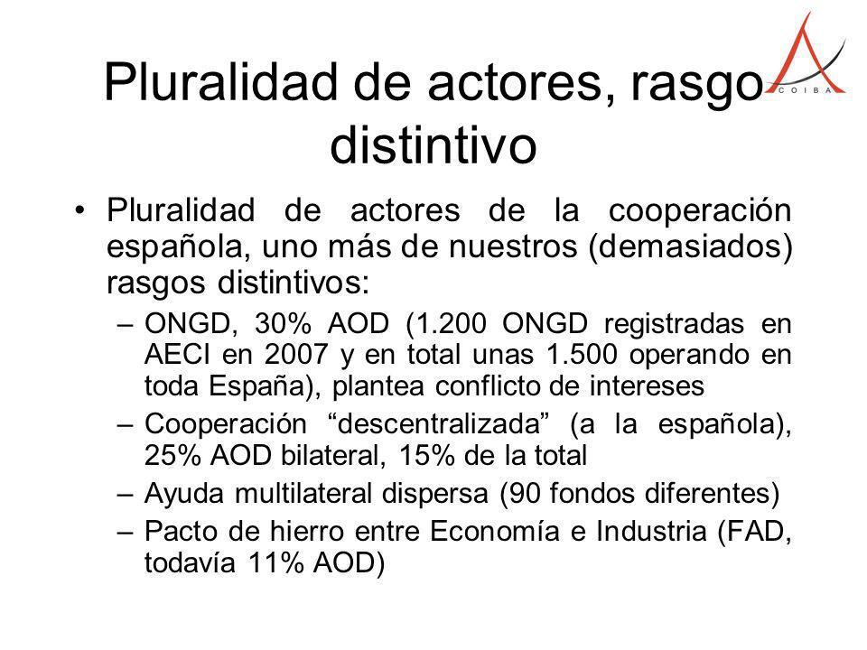 Pluralidad de actores, rasgo distintivo Pluralidad de actores de la cooperación española, uno más de nuestros (demasiados) rasgos distintivos: –ONGD, 30% AOD (1.200 ONGD registradas en AECI en 2007 y en total unas 1.500 operando en toda España), plantea conflicto de intereses –Cooperación descentralizada (a la española), 25% AOD bilateral, 15% de la total –Ayuda multilateral dispersa (90 fondos diferentes) –Pacto de hierro entre Economía e Industria (FAD, todavía 11% AOD)