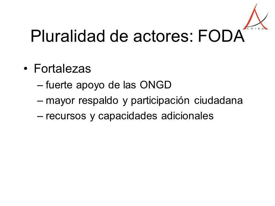 Pluralidad de actores: FODA Fortalezas –fuerte apoyo de las ONGD –mayor respaldo y participación ciudadana –recursos y capacidades adicionales
