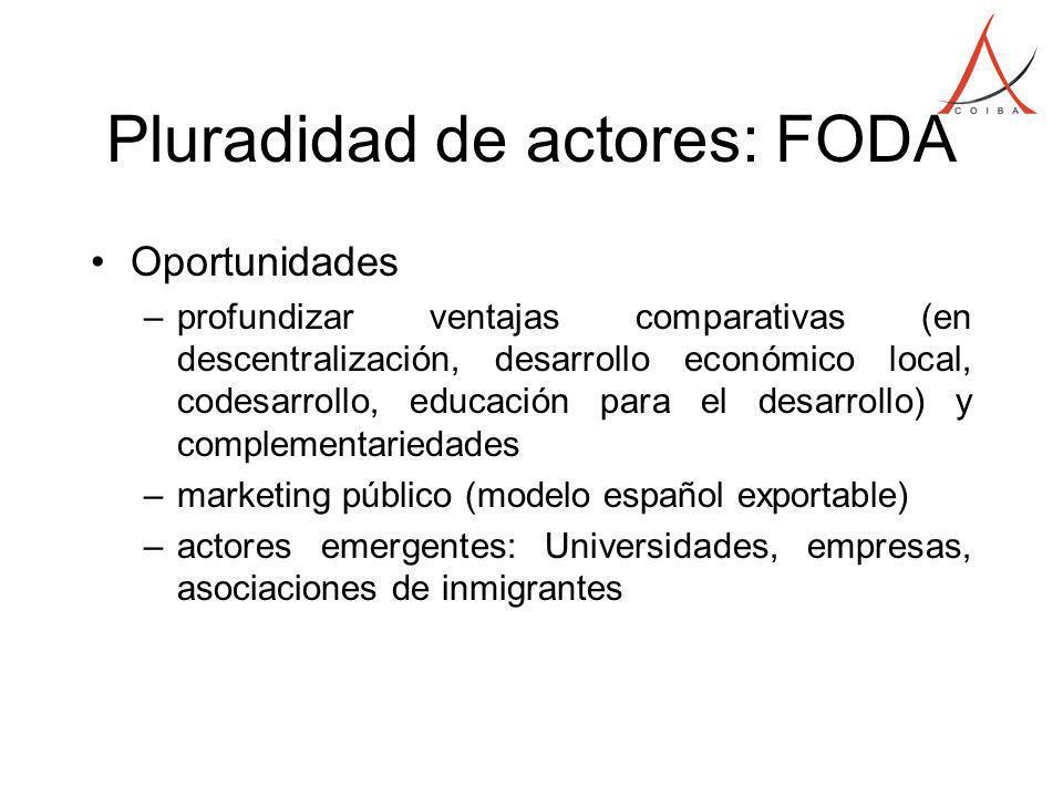Pluradidad de actores: FODA Oportunidades –profundizar ventajas comparativas (en descentralización, desarrollo económico local, codesarrollo, educació