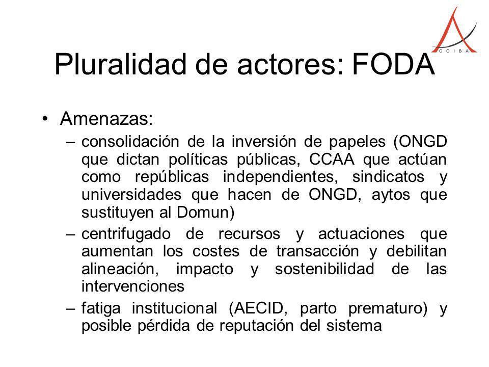 Pluralidad de actores: FODA Amenazas: –consolidación de la inversión de papeles (ONGD que dictan políticas públicas, CCAA que actúan como repúblicas i