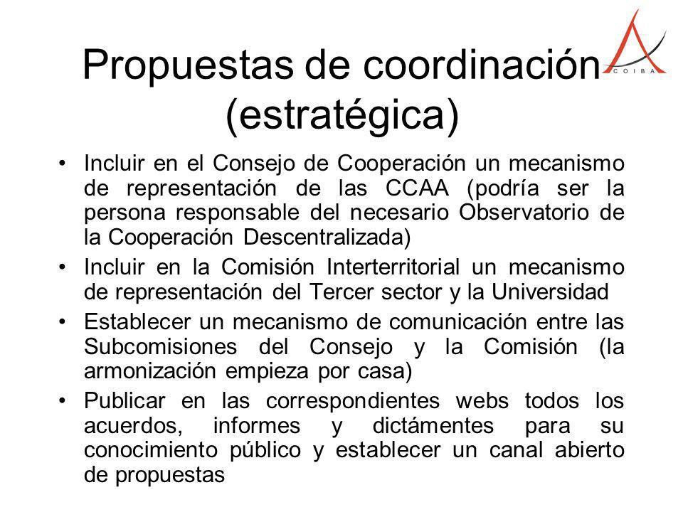 Propuestas de coordinación (estratégica) Incluir en el Consejo de Cooperación un mecanismo de representación de las CCAA (podría ser la persona respon