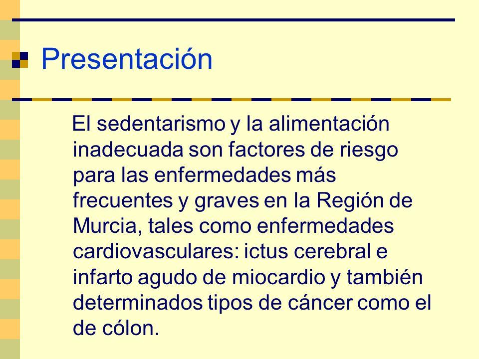 Presentación El sedentarismo y la alimentación inadecuada son factores de riesgo para las enfermedades más frecuentes y graves en la Región de Murcia,