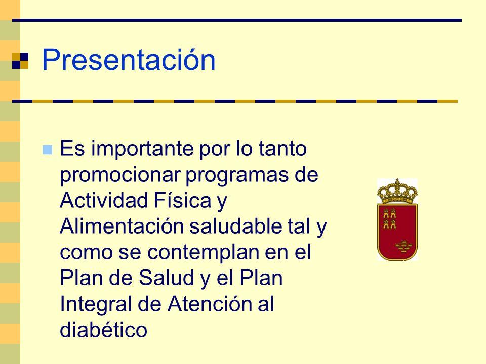 Presentación Es importante por lo tanto promocionar programas de Actividad Física y Alimentación saludable tal y como se contemplan en el Plan de Salu