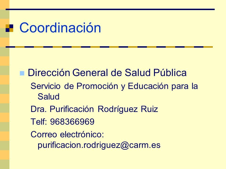 Coordinación Dirección General de Salud Pública Servicio de Promoción y Educación para la Salud Dra. Purificación Rodríguez Ruiz Telf: 968366969 Corre