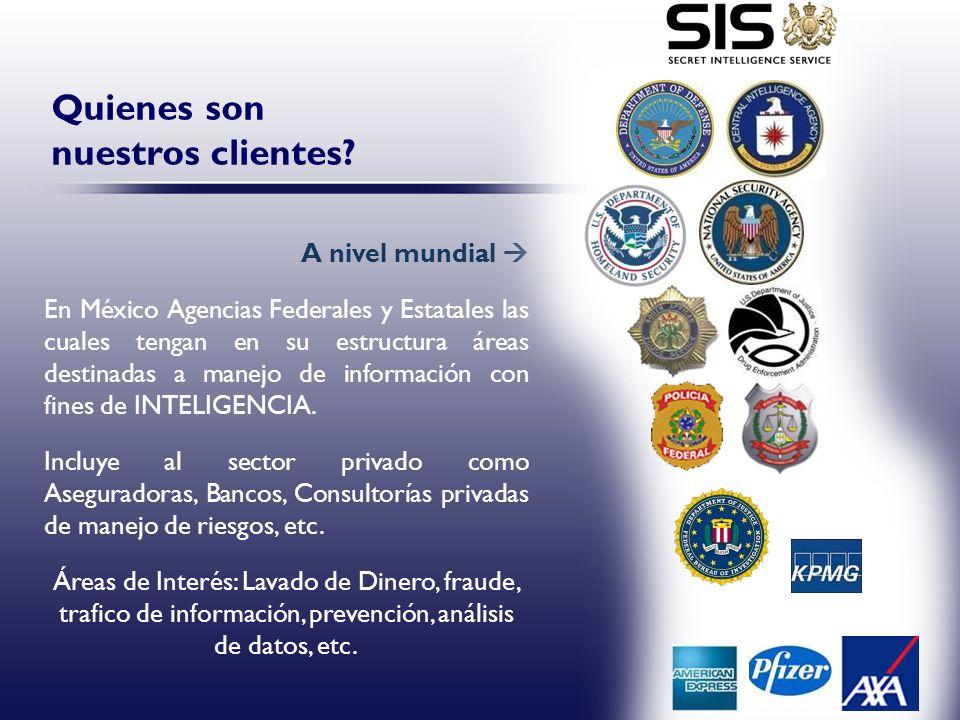 A nivel mundial En México Agencias Federales y Estatales las cuales tengan en su estructura áreas destinadas a manejo de información con fines de INTE