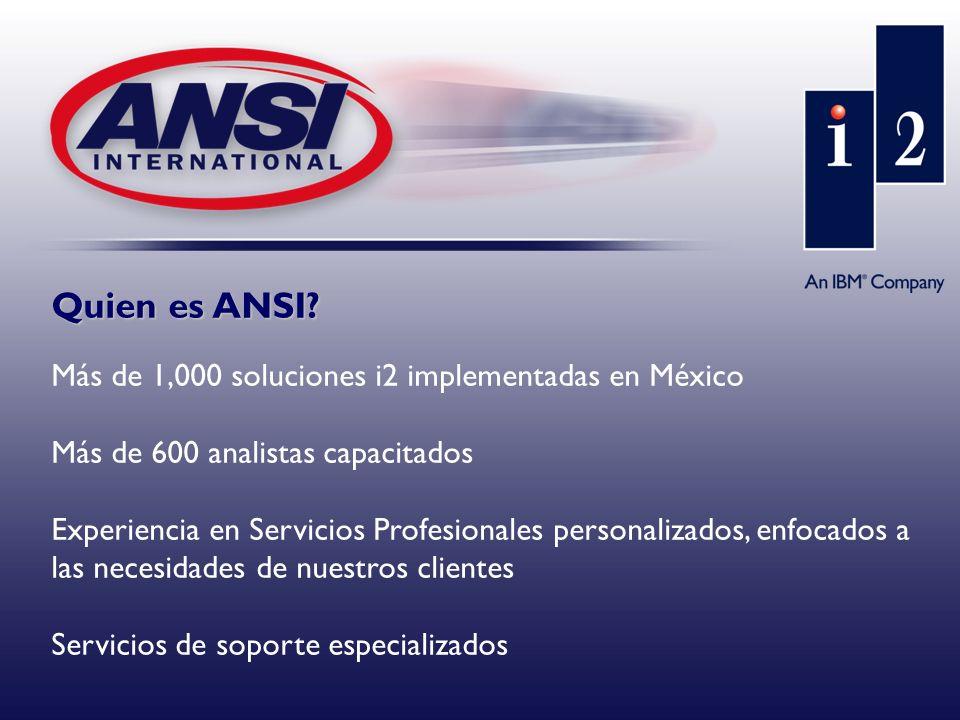Quien es ANSI? Más de 1,000 soluciones i2 implementadas en México Más de 600 analistas capacitados Experiencia en Servicios Profesionales personalizad