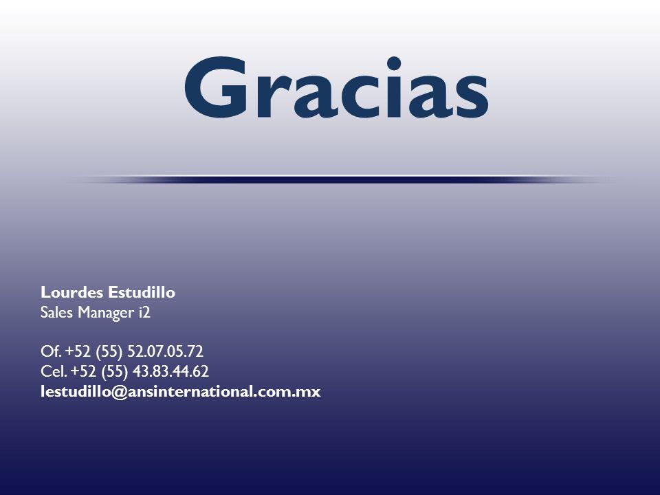 Gracias Lourdes Estudillo Sales Manager i2 Of. +52 (55) 52.07.05.72 Cel. +52 (55) 43.83.44.62 lestudillo@ansinternational.com.mx