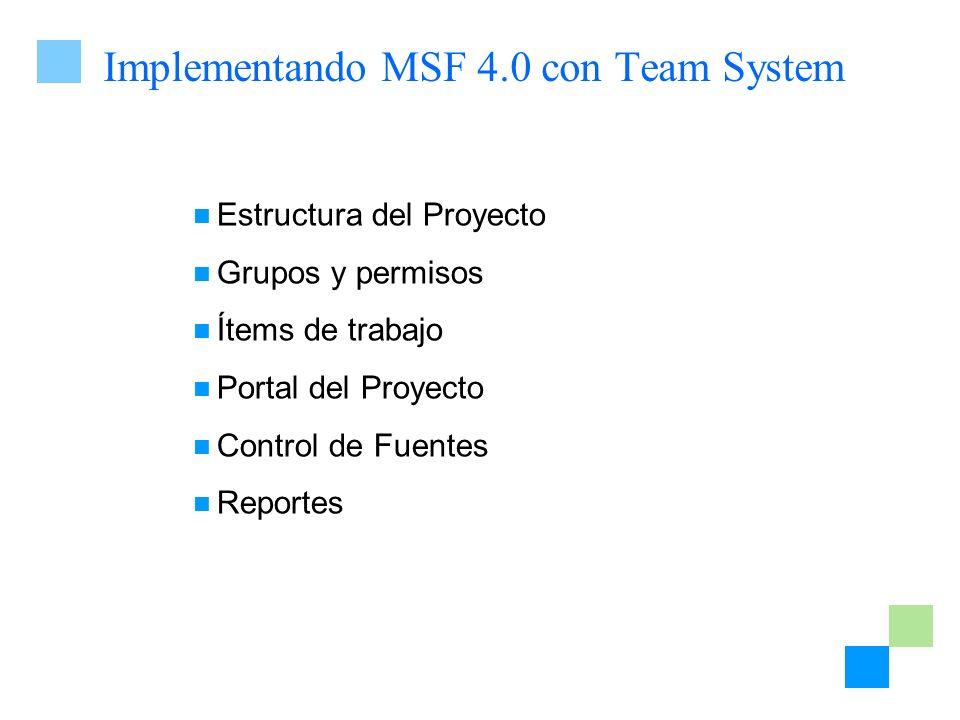 Implementando MSF 4.0 con Team System Estructura del Proyecto Grupos y permisos Ítems de trabajo Portal del Proyecto Control de Fuentes Reportes