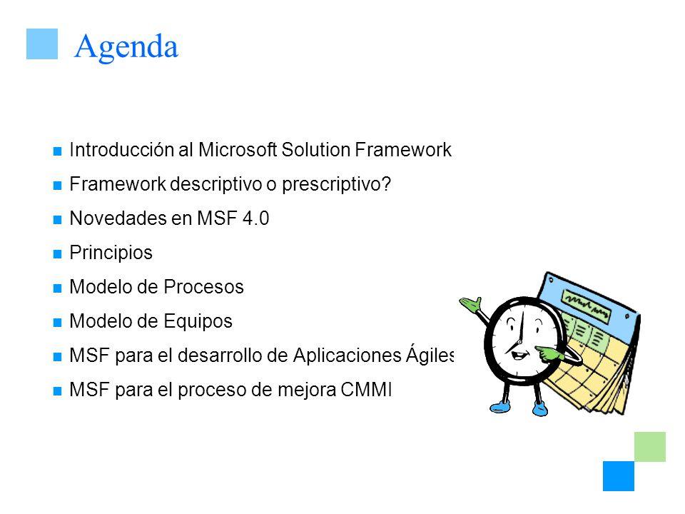 Agenda Introducción al Microsoft Solution Framework Framework descriptivo o prescriptivo? Novedades en MSF 4.0 Principios Modelo de Procesos Modelo de