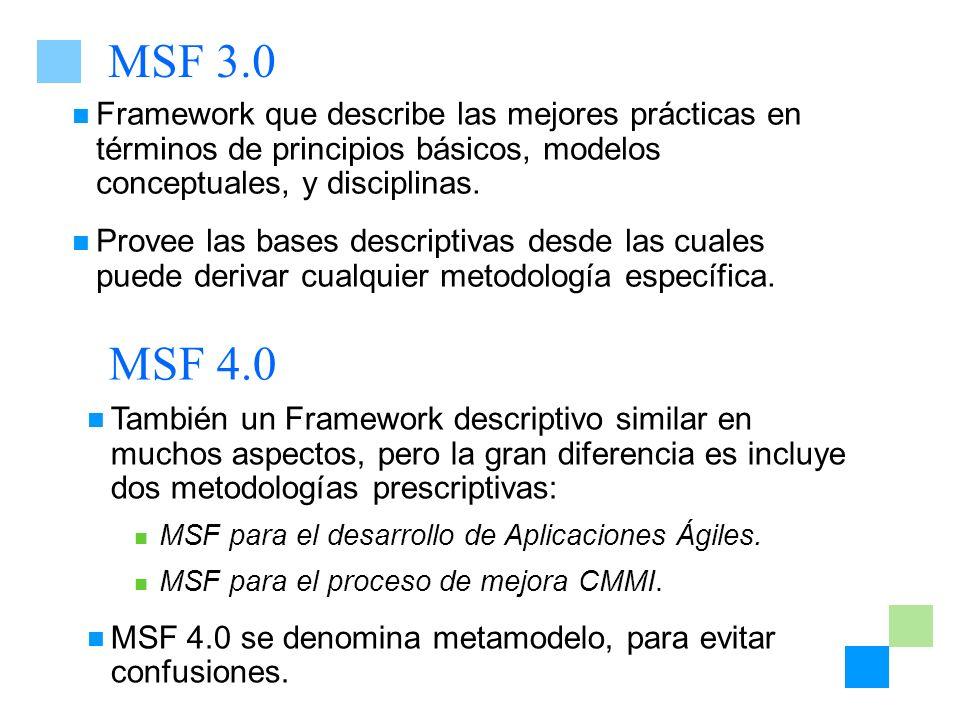 MSF 3.0 Framework que describe las mejores prácticas en términos de principios básicos, modelos conceptuales, y disciplinas. Provee las bases descript