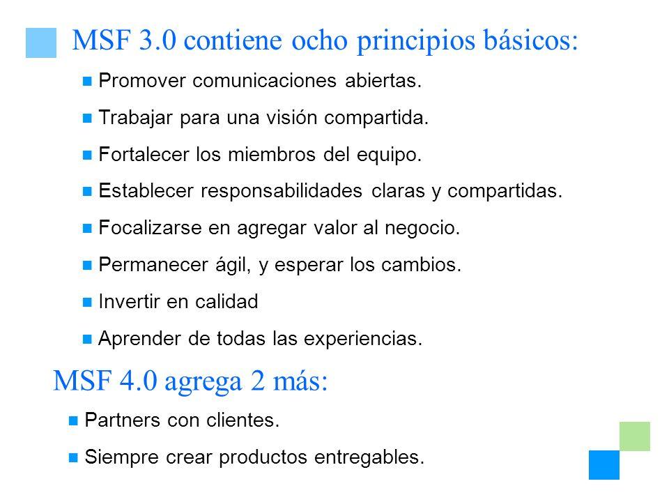 MSF 3.0 contiene ocho principios básicos: Promover comunicaciones abiertas. Trabajar para una visión compartida. Fortalecer los miembros del equipo. E