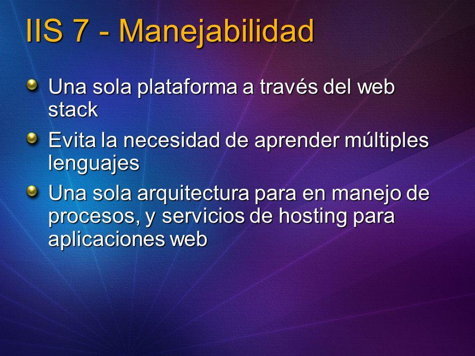 Extensibilidad La extensibilidad en IIS 6 no era completa: Metabase, ISAPI, UI Nuevo juego de ricas APIs públicas alrededor de: Diagnostics, herramientas de administración, core server, config Esperamos construir una comunidad de socios para extender IIS 7