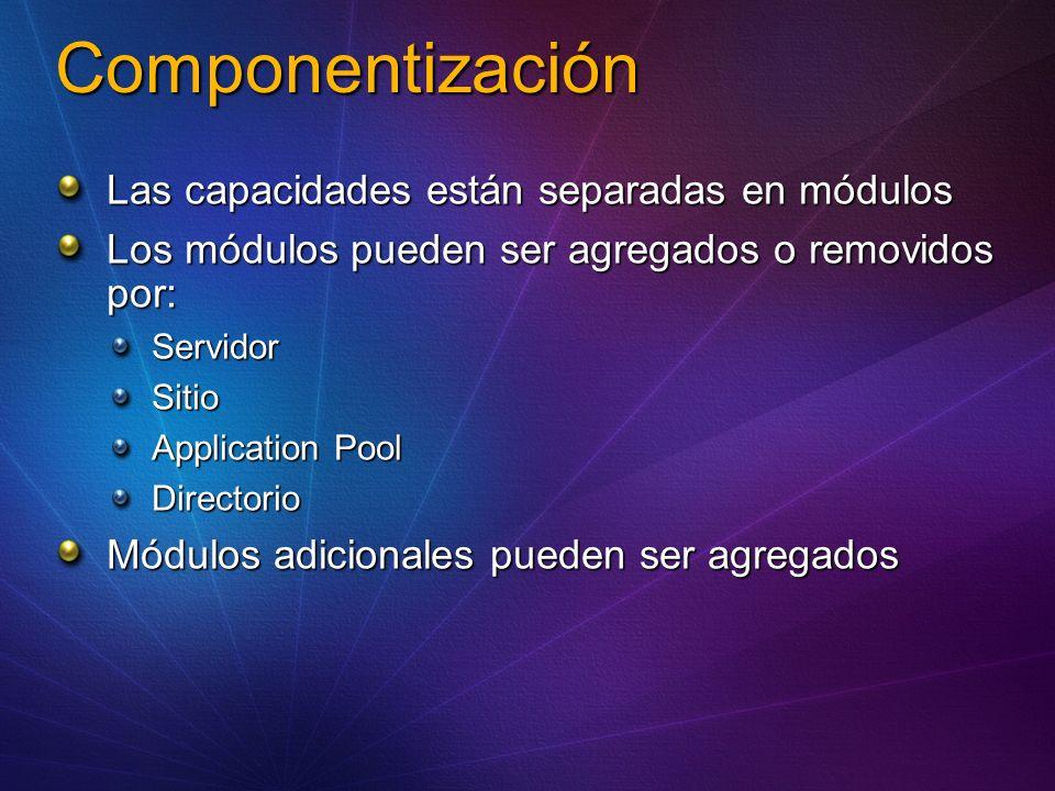 Componentización Las capacidades están separadas en módulos Los módulos pueden ser agregados o removidos por: ServidorSitio Application Pool Directorio Módulos adicionales pueden ser agregados