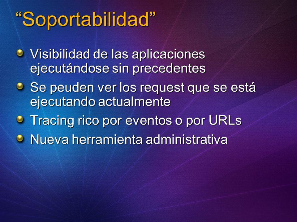 Soportabilidad Visibilidad de las aplicaciones ejecutándose sin precedentes Se peuden ver los request que se está ejecutando actualmente Tracing rico por eventos o por URLs Nueva herramienta administrativa