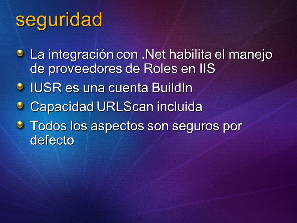 seguridad La integración con.Net habilita el manejo de proveedores de Roles en IIS IUSR es una cuenta BuildIn Capacidad URLScan incluida Todos los aspectos son seguros por defecto