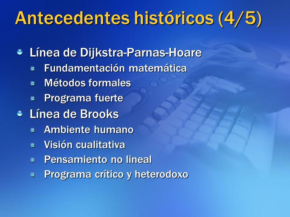 Antecedentes históricos (4/5) Línea de Dijkstra-Parnas-Hoare Fundamentación matemática Métodos formales Programa fuerte Línea de Brooks Ambiente human