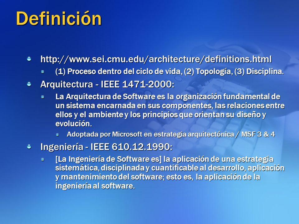 Definición http://www.sei.cmu.edu/architecture/definitions.html (1) Proceso dentro del ciclo de vida, (2) Topología, (3) Disciplina. Arquitectura - IE