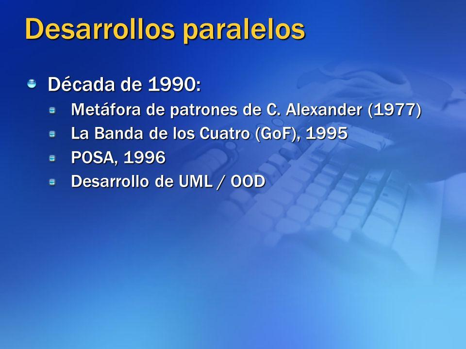 Desarrollos paralelos Década de 1990: Metáfora de patrones de C. Alexander (1977) La Banda de los Cuatro (GoF), 1995 POSA, 1996 Desarrollo de UML / OO