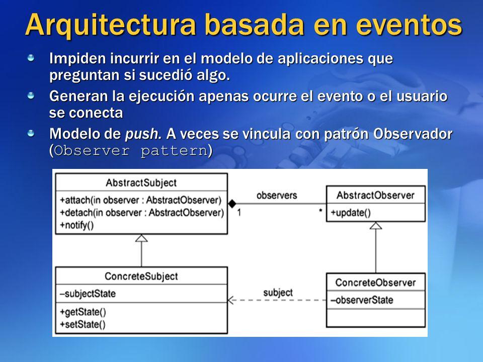 Arquitectura basada en eventos Impiden incurrir en el modelo de aplicaciones que preguntan si sucedió algo. Generan la ejecución apenas ocurre el even
