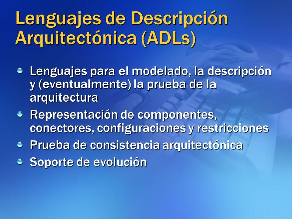 Lenguajes de Descripción Arquitectónica (ADLs) Lenguajes para el modelado, la descripción y (eventualmente) la prueba de la arquitectura Representació