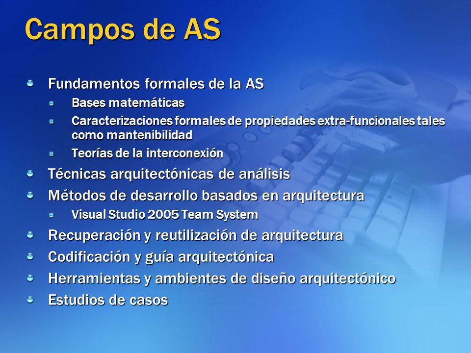 Campos de AS Fundamentos formales de la AS Bases matemáticas Caracterizaciones formales de propiedades extra-funcionales tales como mantenibilidad Teo