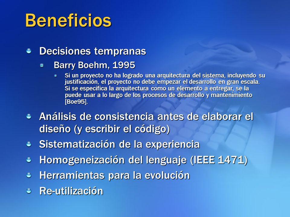 Beneficios Decisiones tempranas Barry Boehm, 1995 Si un proyecto no ha logrado una arquitectura del sistema, incluyendo su justificación, el proyecto