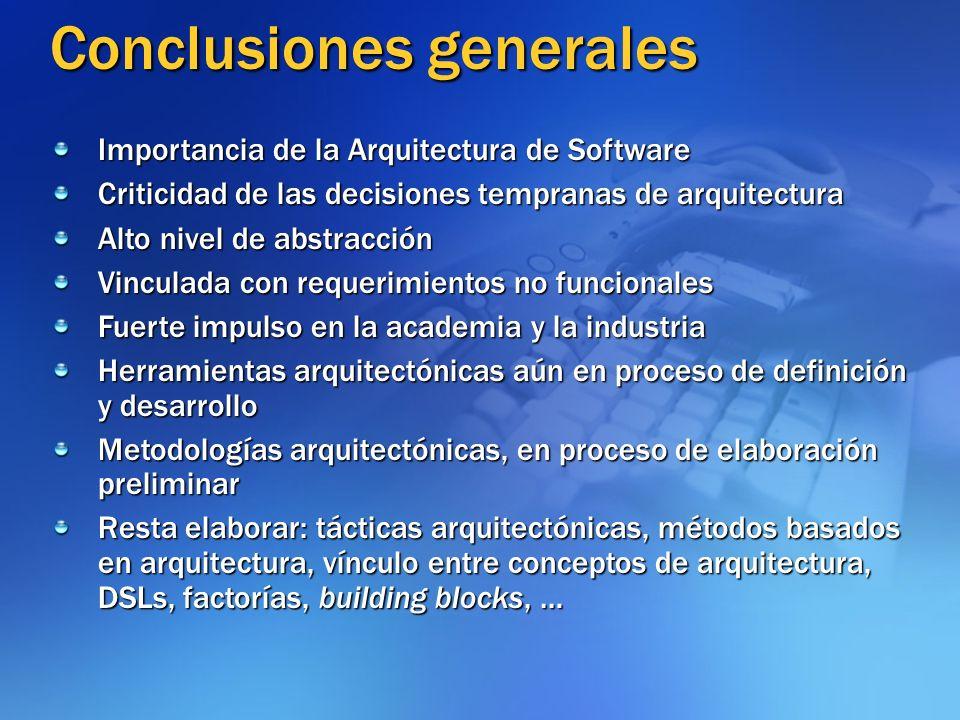 Conclusiones generales Importancia de la Arquitectura de Software Criticidad de las decisiones tempranas de arquitectura Alto nivel de abstracción Vin