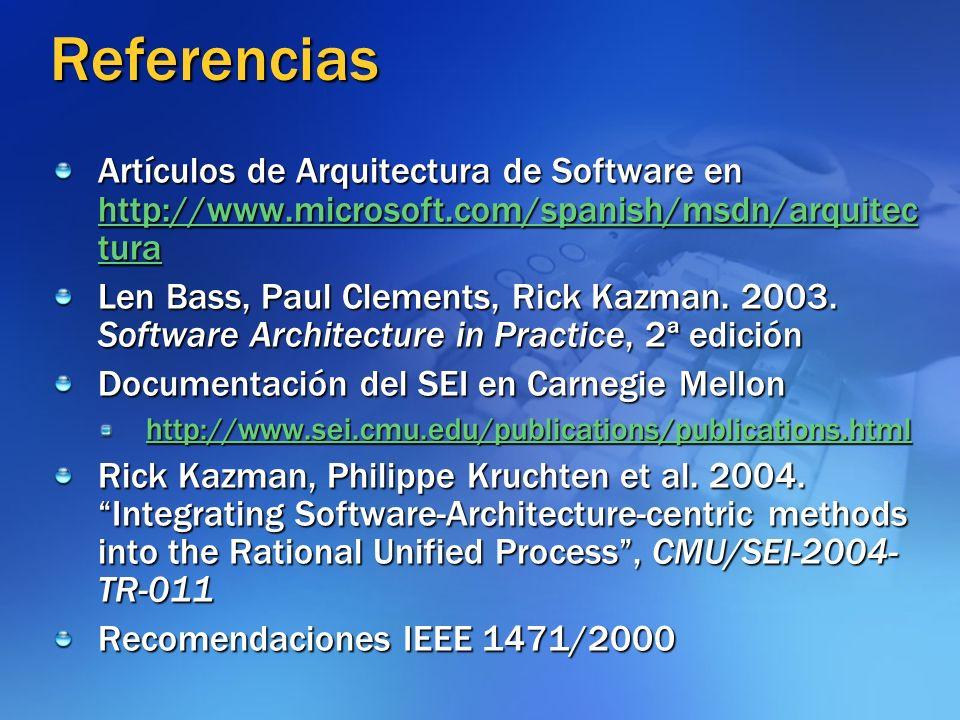 Referencias Artículos de Arquitectura de Software en http://www.microsoft.com/spanish/msdn/arquitec tura http://www.microsoft.com/spanish/msdn/arquite