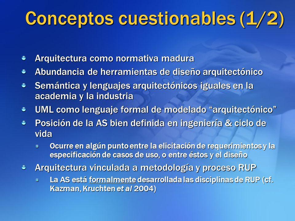 Conceptos cuestionables (2/2) La AS tiene que ver con modelado OO La AS no admite ni requiere otros paradigmas No hay urgencia en considerar otros paradigmas (Berners-Lee) Las herramientas arquitectónicas generan la estructura de la aplicación e incluso el código (analogía con modelos CASE) El dilema del roundtrip engineering está resuelto Hay que considerar modelo de DSL
