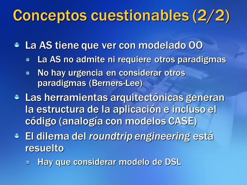 Conceptos cuestionables (2/2) La AS tiene que ver con modelado OO La AS no admite ni requiere otros paradigmas No hay urgencia en considerar otros par