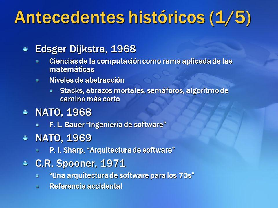Antecedentes históricos (1/5) Edsger Dijkstra, 1968 Ciencias de la computación como rama aplicada de las matemáticas Niveles de abstracción Stacks, ab