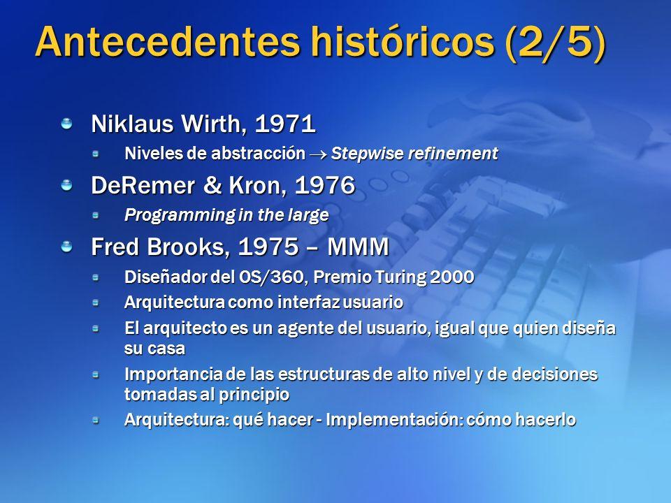 Antecedentes históricos (3/5) David Parnas 1972: Módulos – Ocultamiento de información 1974: Estructuras de software 1976: Familias de programas (Árbol de decisión) - Descomposición - Alternativa a diagramas de flujo, propensión estructural (no funcional) Una familia de programas es un conjunto de programas (no todos los cuales han sido construidos o lo serán alguna vez) a los cuales es provechoso o útil considerar como grupo.