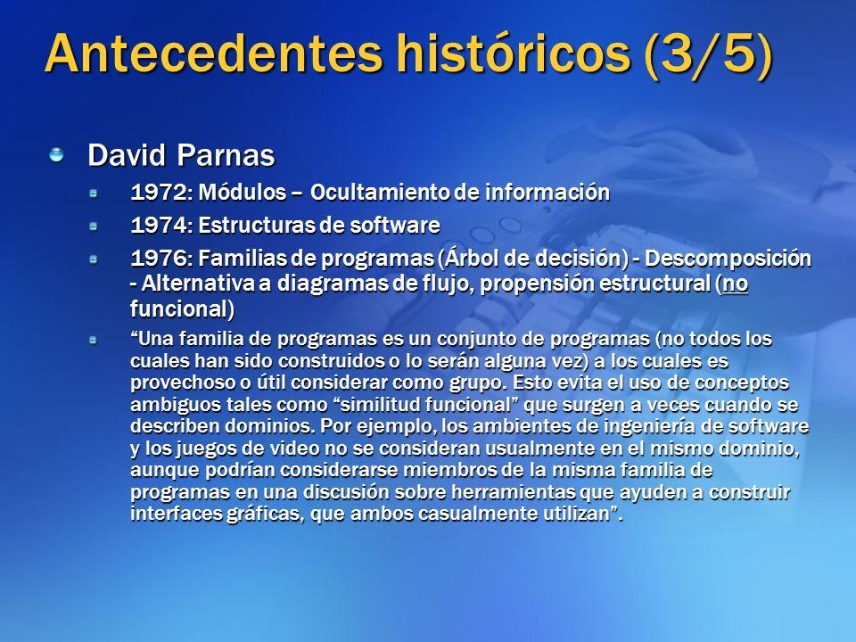 Antecedentes históricos (4/5) Línea de Dijkstra-Parnas-Hoare Fundamentación matemática Métodos formales Programa fuerte Línea de Brooks Ambiente humano Visión cualitativa Pensamiento no lineal Programa crítico y heterodoxo