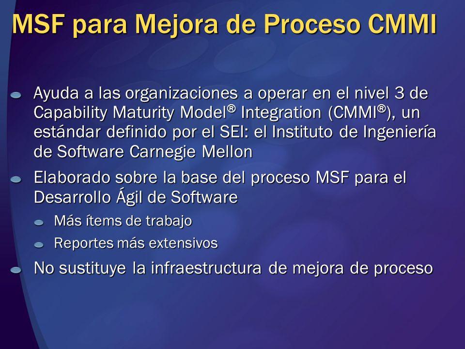 MSF para Mejora de Proceso CMMI Ayuda a las organizaciones a operar en el nivel 3 de Capability Maturity Model ® Integration (CMMI ® ), un estándar de