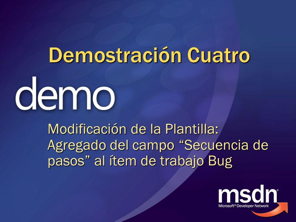 Demostración Cuatro Modificación de la Plantilla: Agregado del campo Secuencia de pasos al ítem de trabajo Bug